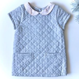 Burberry gray quilted dress pink plaid collar 18mo